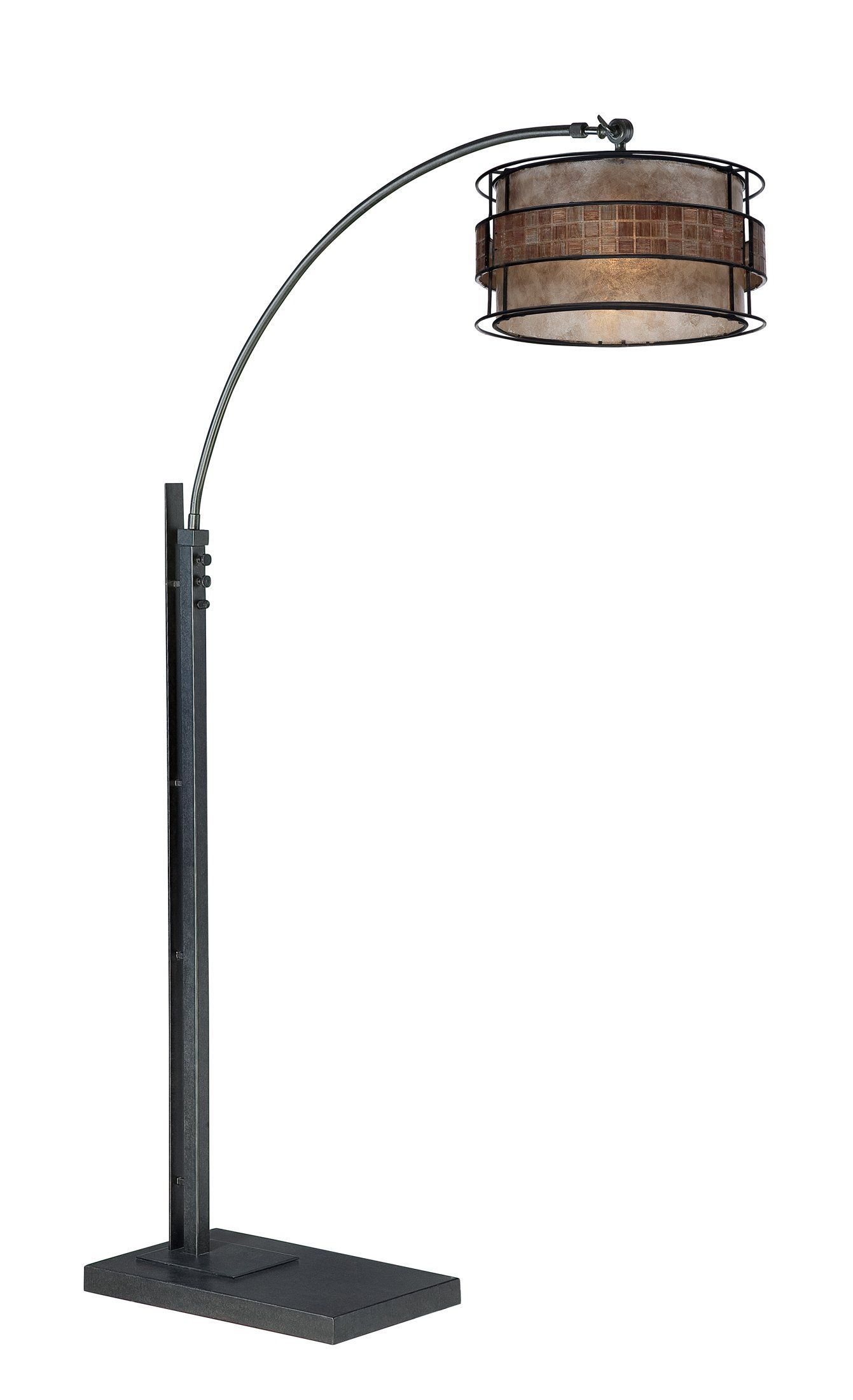 """Quoizel Q4574A Mica Light Arc Floor Lamp. Product Design Style: Contemporary. Product Finish: None Specified. Product Electical: 1-150W A21 Medium Base. Product Shade: Mica - 16"""" x 8.5"""" Moasic Tile Mica Shade. Product Warranty: Lifetime Warranty on all Electrical Parts."""