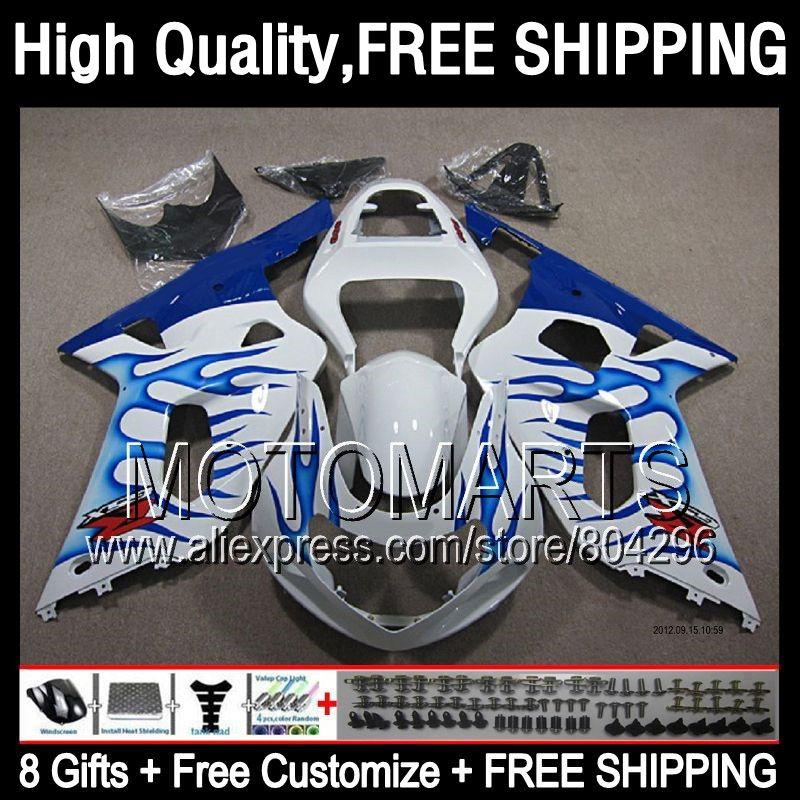 Blue flames 8Gift For SUZUKI GSX R750 2001 2002 2003 R600