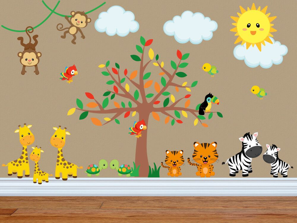Best The Gang S All Here Jungle Animal Nursery Wall Decals Tree Decal Nursery Kids Wall Decals 400 x 300