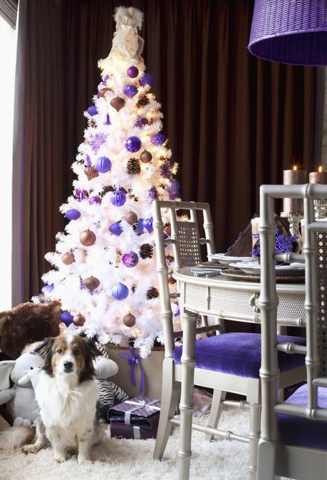 Purple Balls For Decoration Snow White Christmas Tree With Purple And Brown Balls #decorations