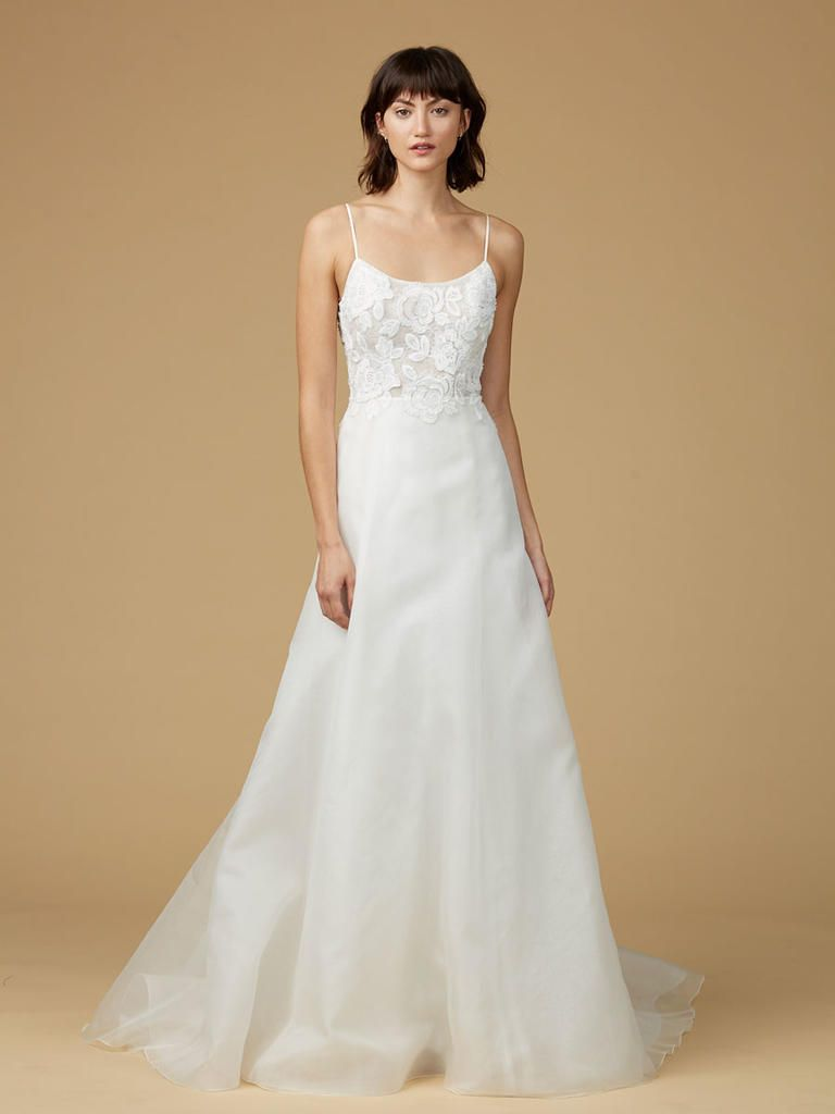 8861c4391de1 Amsale Nouvelle scoop neck satin wedding dress with floral lace  embellishment