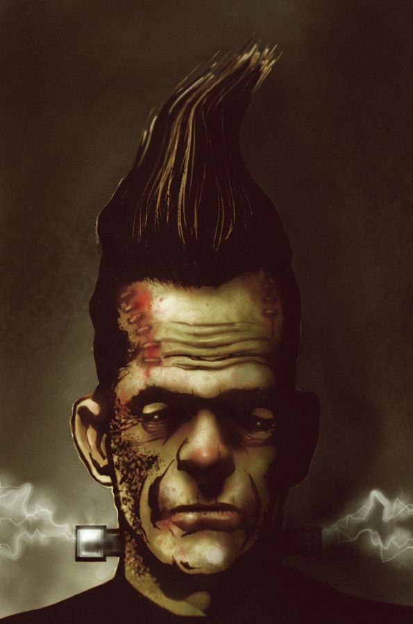 Yo Frankie Frankensteins Monster With A Rockabilly Pompadour Illustration
