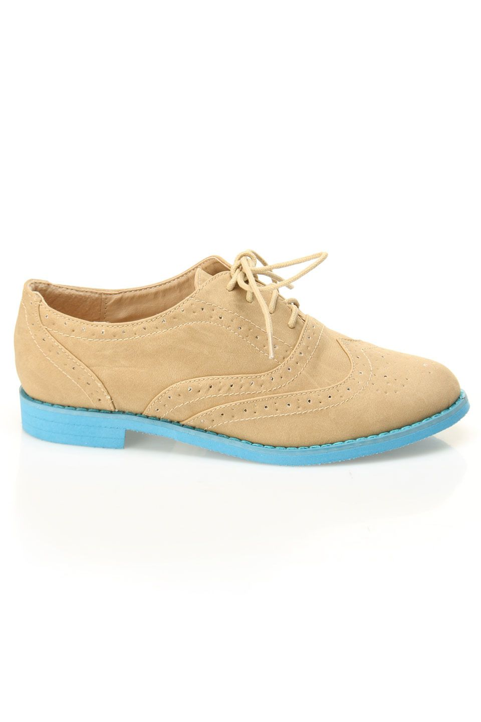 tan + turquoise oxfords
