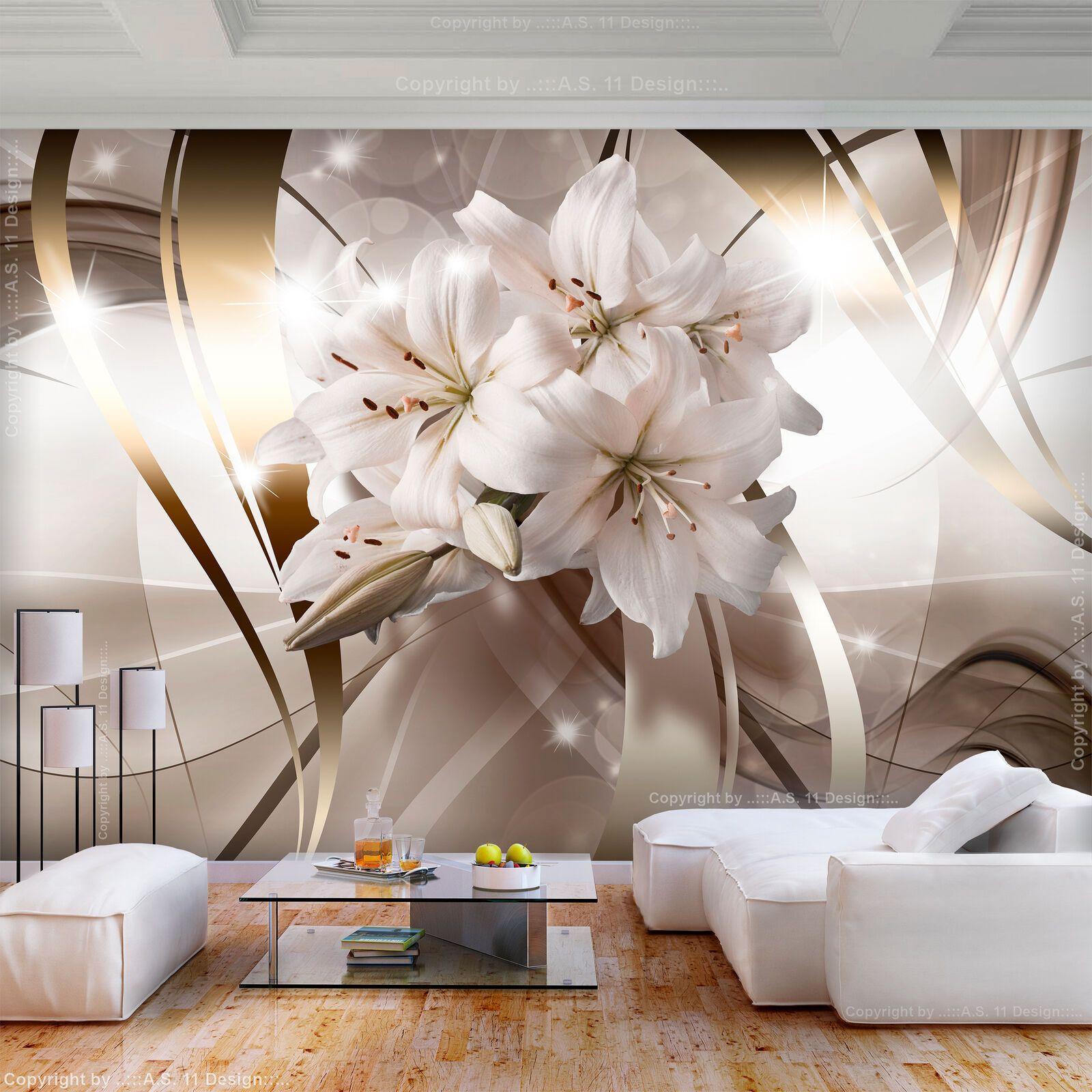 Fototapeten Tapete Fototapete Vlies Blumen Lilien Bilder XXL 3D Optik Wohnzimmer