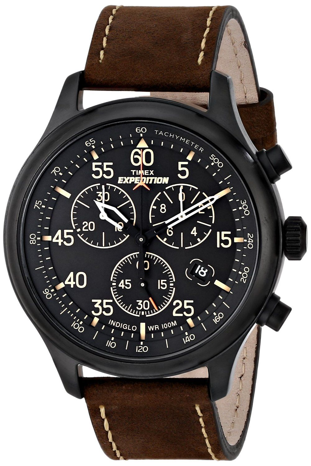 ea6aebe72e9b Amazon.com  Timex Men s T49905 Expedition Rugged Field Chronograph Black  Dial Brown Leather Strap