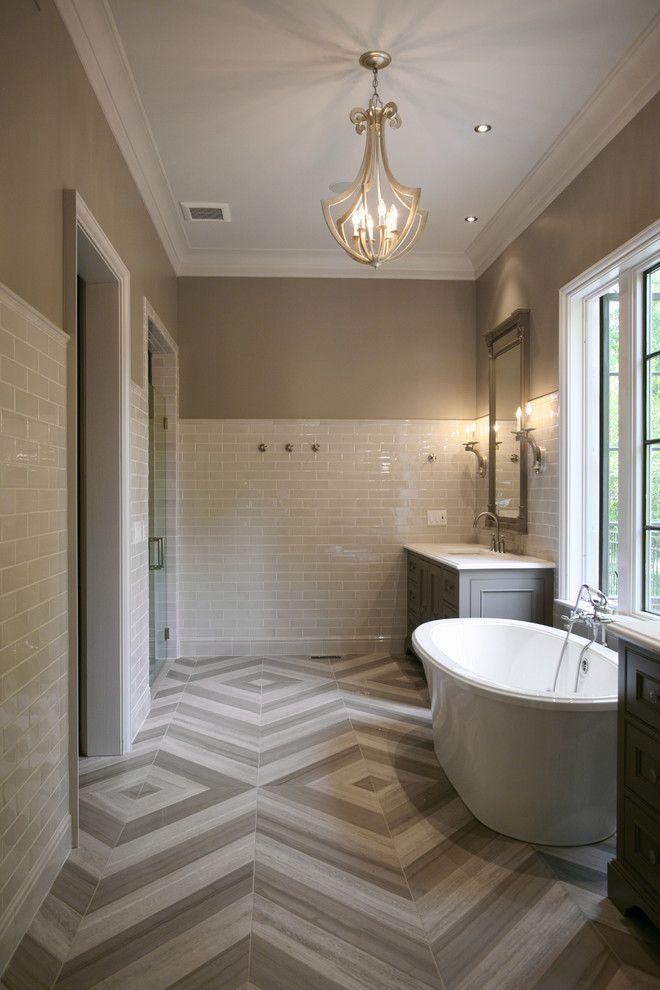 Chevron Tiles Bathroom Contemporary With Beige Subway Tile White Molding