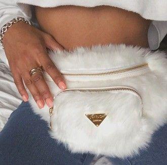 fd331a6a3f9 bag fanny pack fashion fluffy white white bag belt bag fur bag fluffy bag fur  purse cream furry pouch