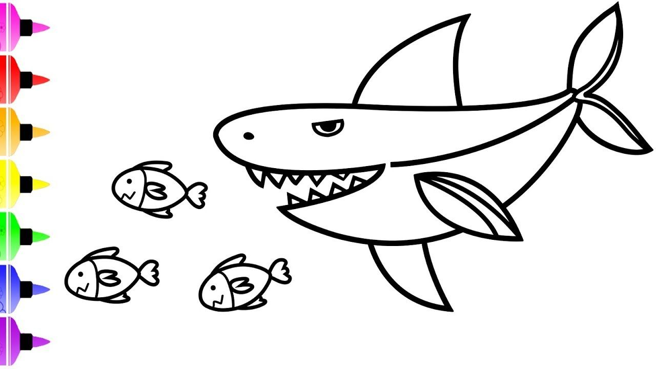 White Shark Coloring Pages for Kids & Art Coloring Book for Baby ...