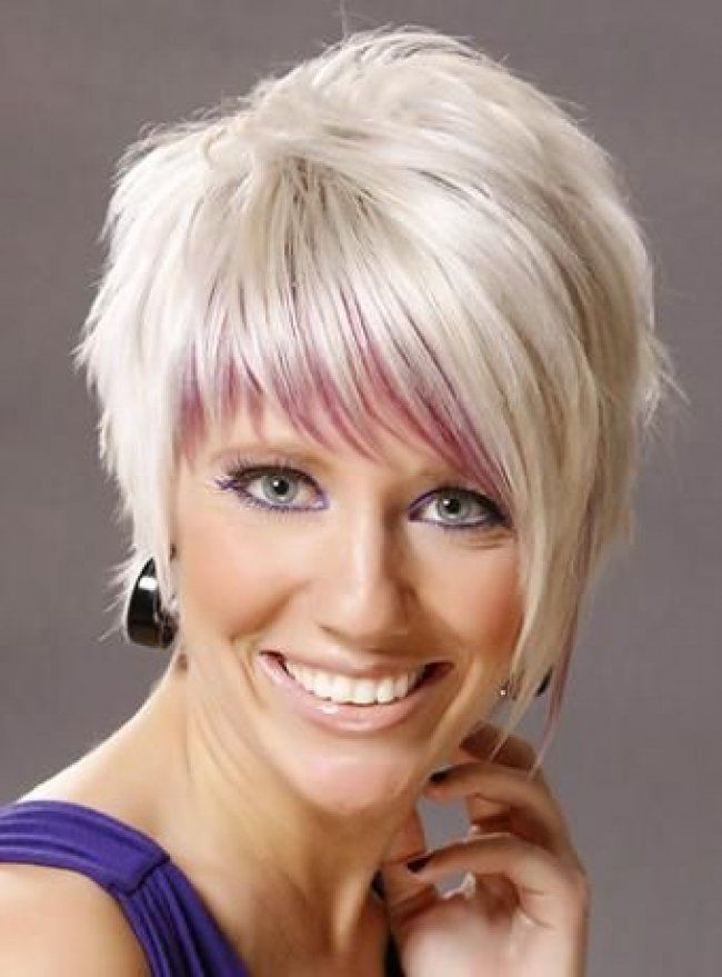 Short Wispy Hairstyles For Women Wispy Razor Haircut Color Bang