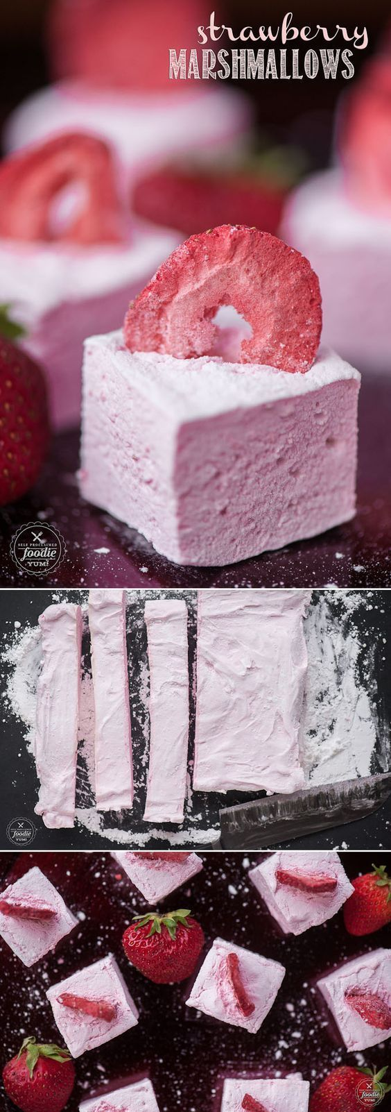 Homemade marshmallows are a real treat, and these Strawberry Marshmallows made with fresh strawberry puree take them to a whole new level! #marshmallow