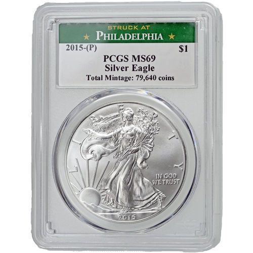 2015 American Silver Eagle 1 oz Silver CoinNGC Graded MS-69