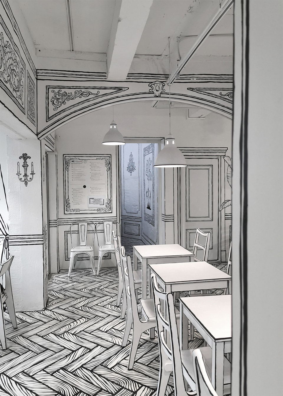 This Korean Cafe Looks Like a Black and White Illustration ...