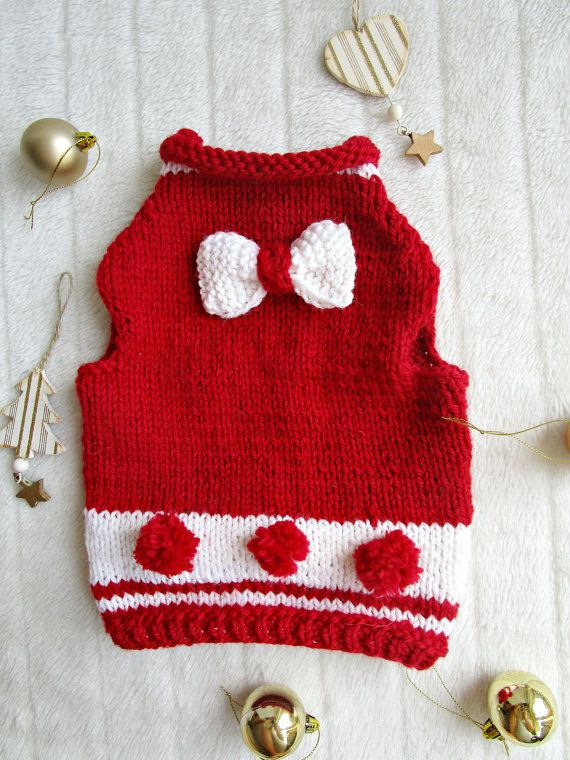 Pet Gift Christmas Dog Sweater Christmas Cat Sweater Red Crocheted