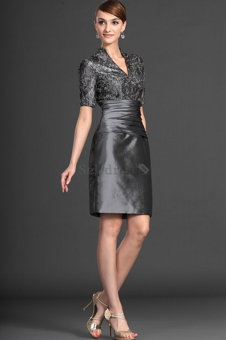 Mesh Fabric Dropped Waist V Neck Gray Short Sleeves Sashes Fancy Sheath Mother Of The Mob Dressesbride