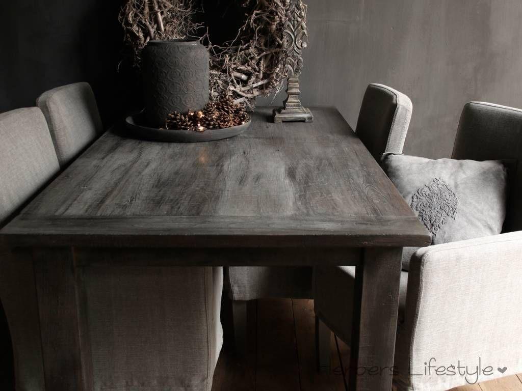 Oud teak eetkamer tafel vergrijsd woninginrichting pinterest
