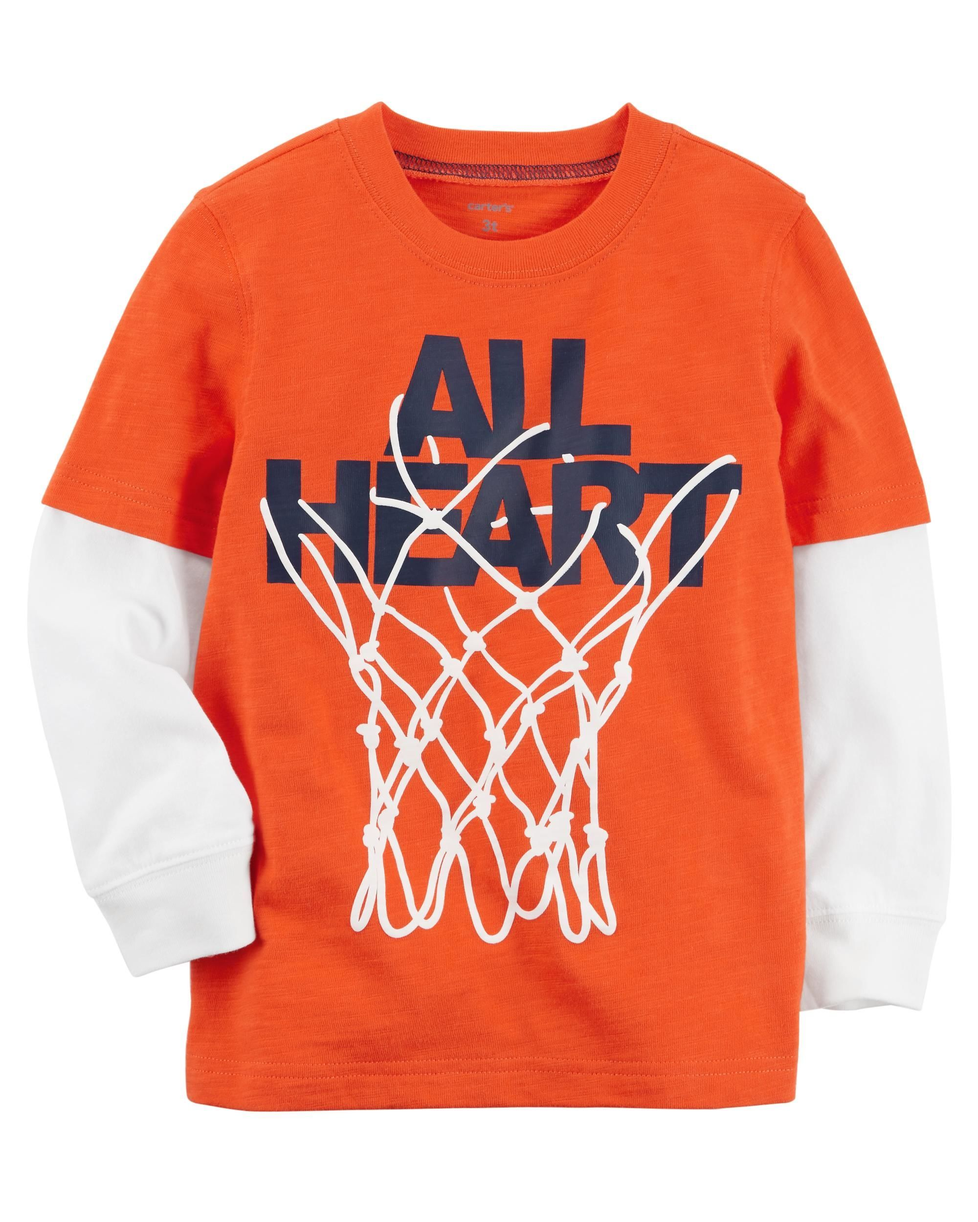 Toddler Boy Basketball Layered Look Jersey Tee