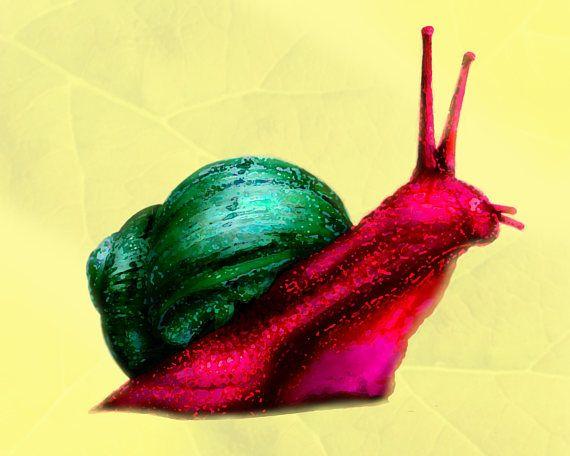 Art print of colorful magic snails- 8x10. Wall art, home decor ...