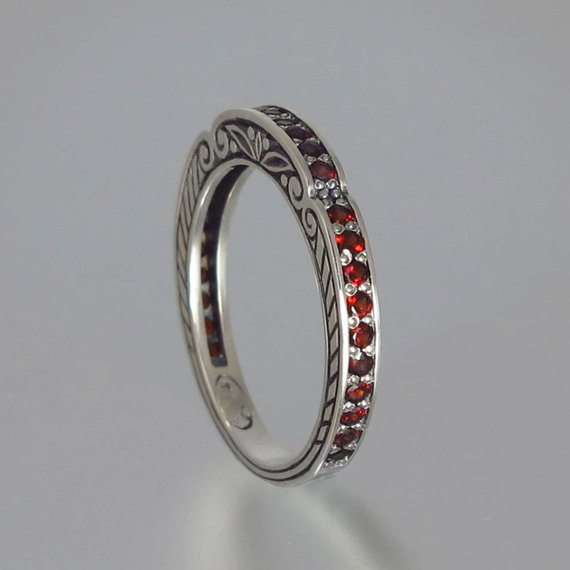 Eternity band Orange sapphire oxidised sterling silver Anniversary ring.