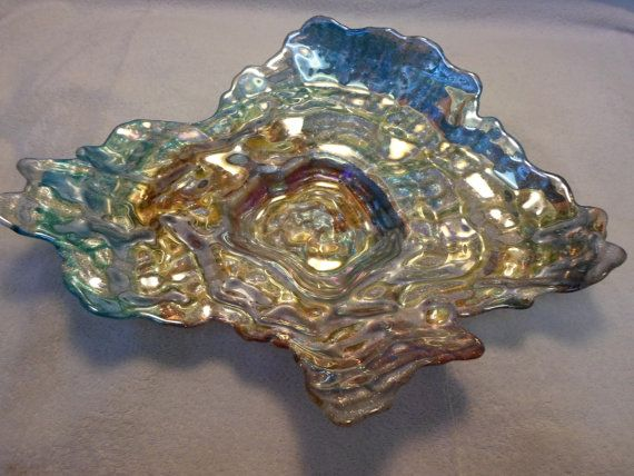 Glamorous Oceanic Glass Decorative or Usable Shell Bowl, Very Unusual, Turkish Glass on Etsy, $75.00