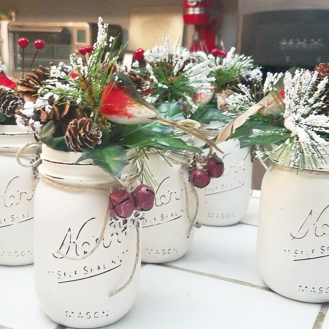 Chalk Painted And Distressed Christmas Mason Jars Christmas Mason Jars Mason Jar Diy Mason Jars