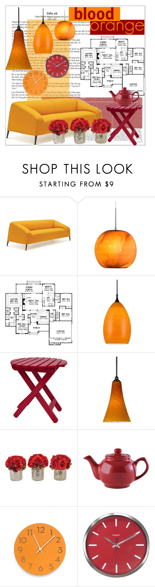 """""""Main Color: Blood Orange"""" by gretams ❤ liked on Polyvore featuring interior, interiors, interior design, home, home decor, interior decorating, Cal Lighting, Shine Company and Price & Kensington"""