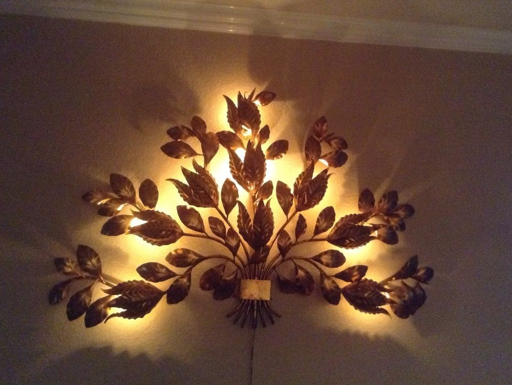Mid Century Italian Sconce Gold Metal Gilt Flowers Lamp Wall Art Light Italian Wall Art Flower Lamp Light Art