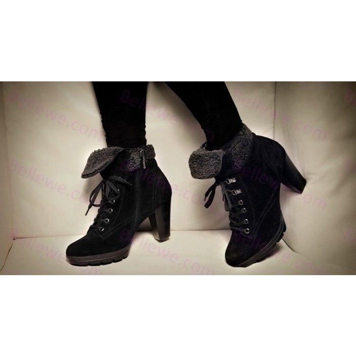 04f75c18def Bottines femme en cuir noir lacets zippe fourrure fashion talon 6cm Black  Women