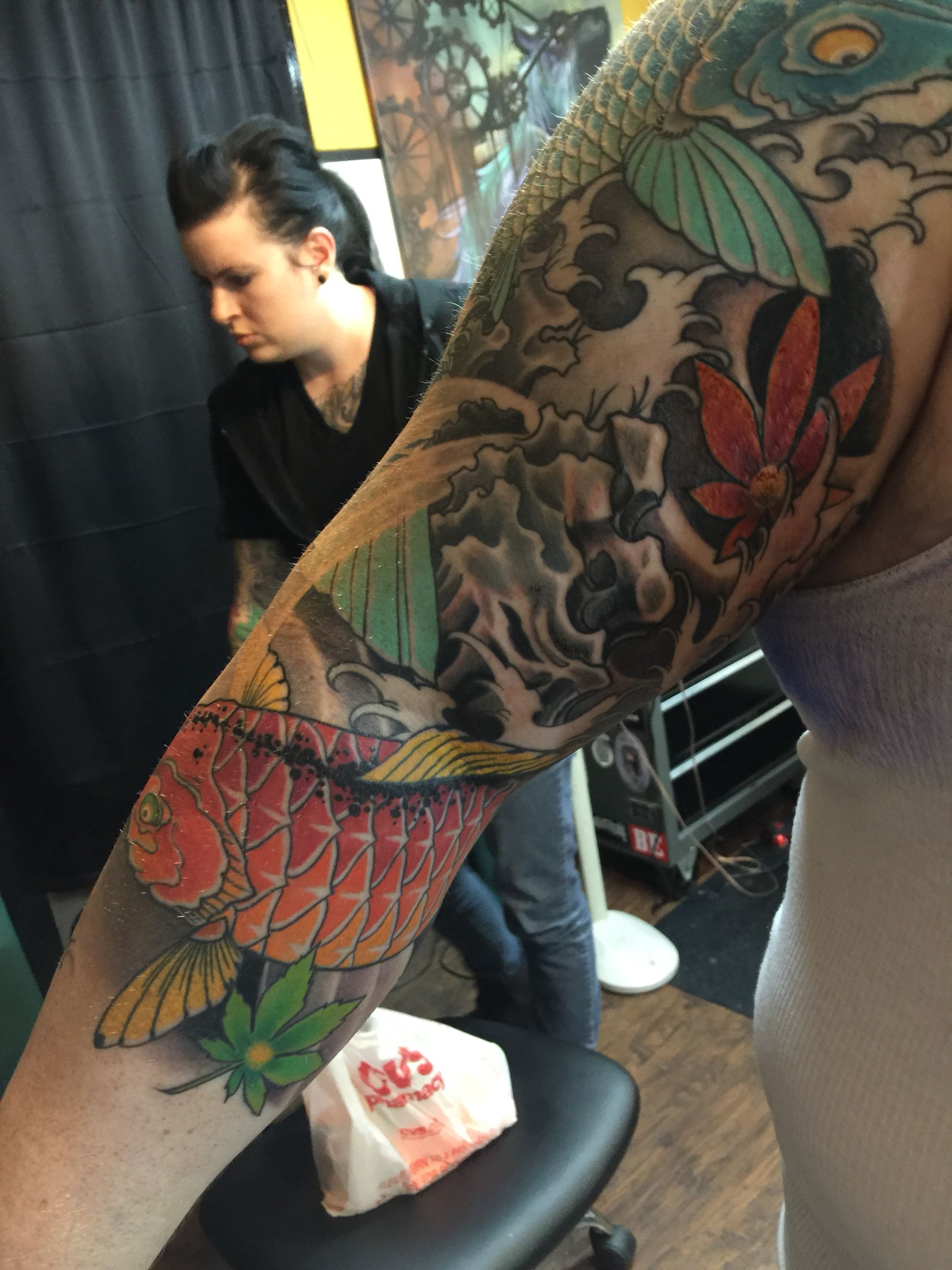 My japanese 2 koi maple leaves 3 4 sleeve by tai orten for Electric hand tattoo