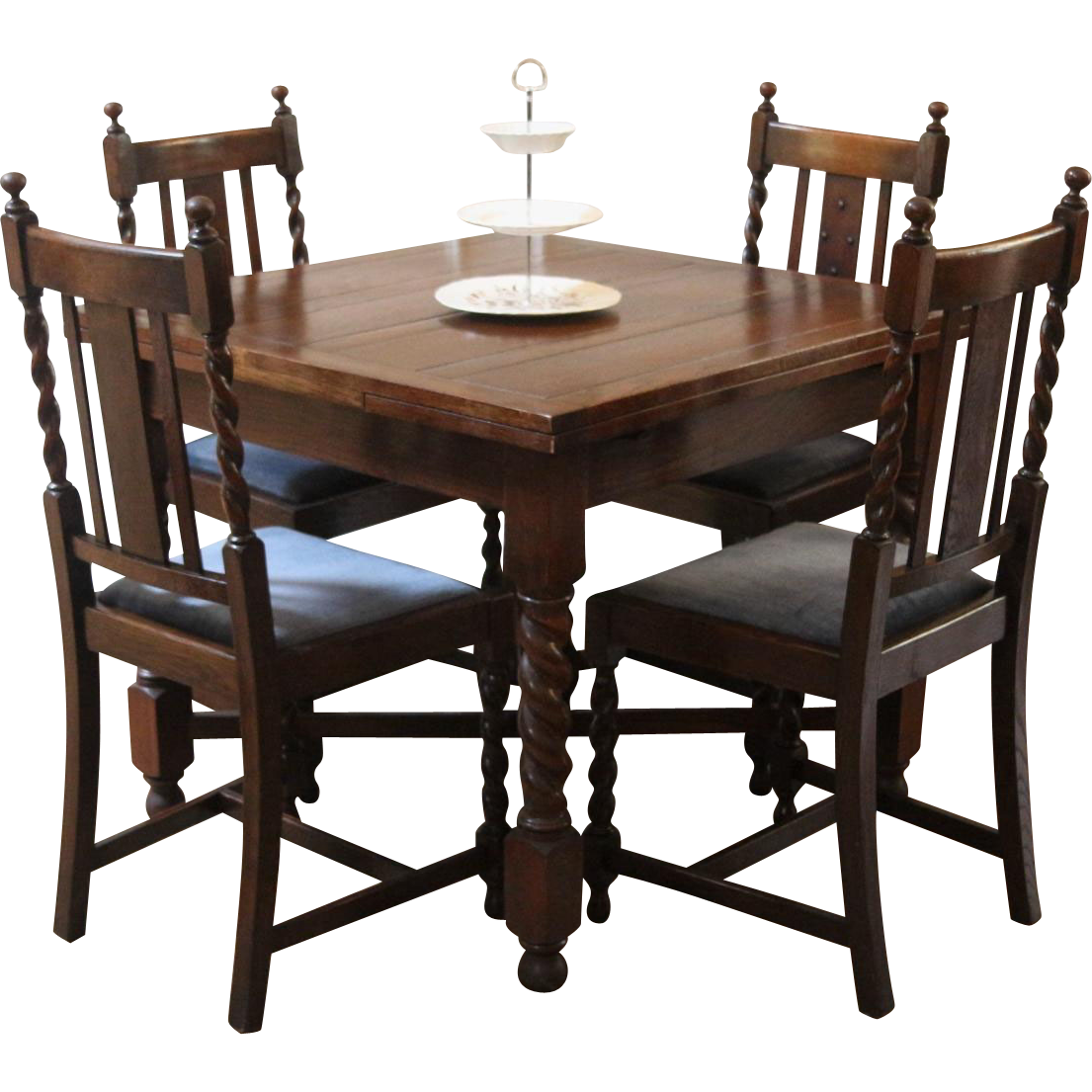 Antique English Draw Leaf Pub Dining Table and Chairs. Barley Twist ...