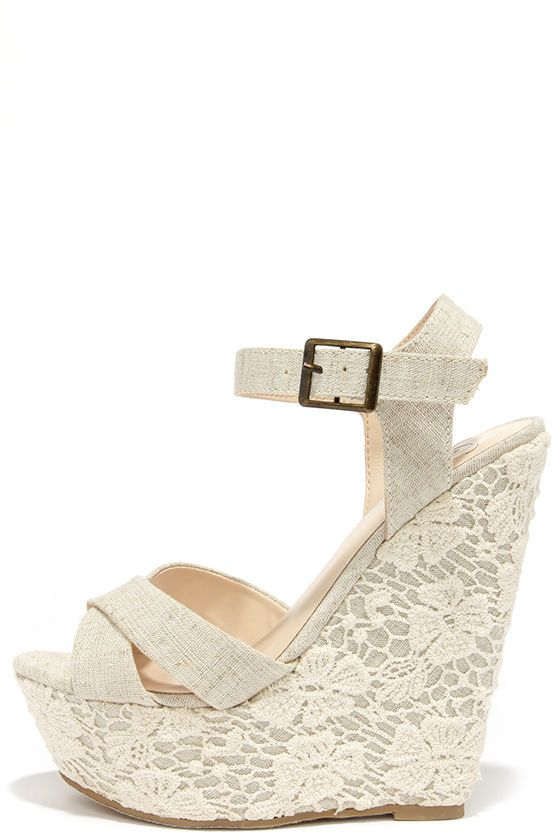 93ec66412 Romantic Notions Beige Linen Lace Wedges | Shoes (Old Board) | Lace ...