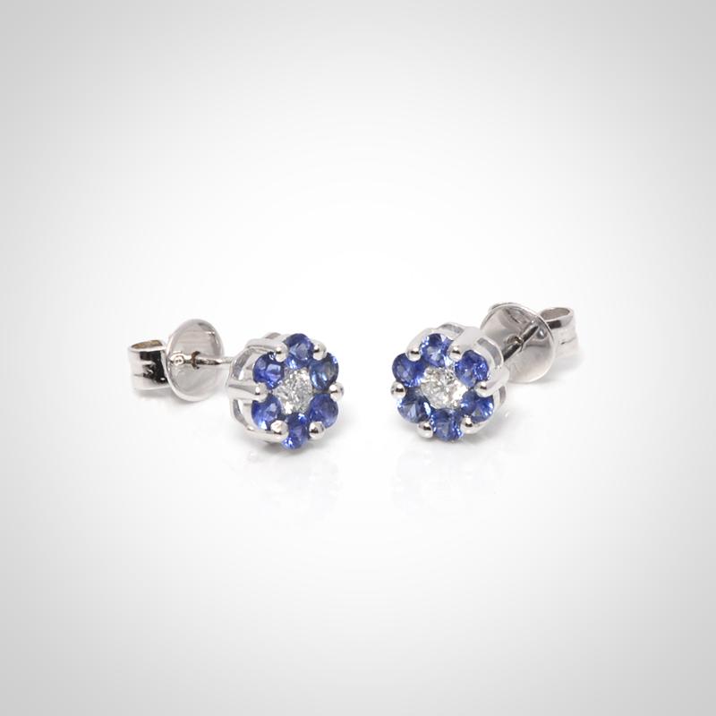 Aros de oro blanco 18k con zafiros y diamantes
