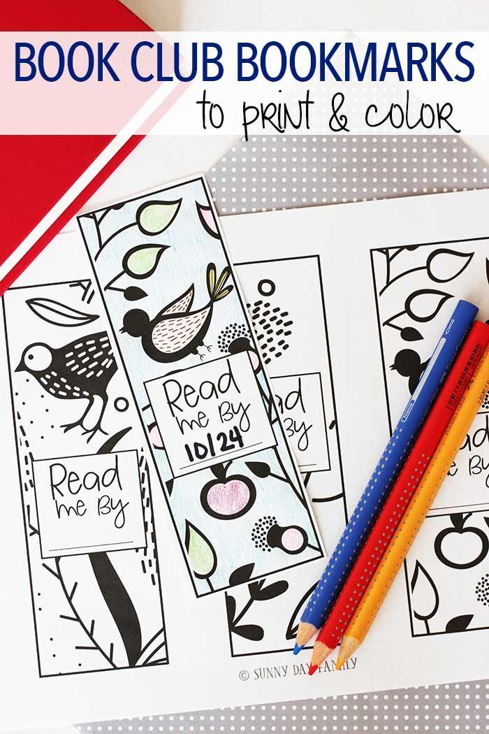 Free Printable Book Club Bookmarks To Color