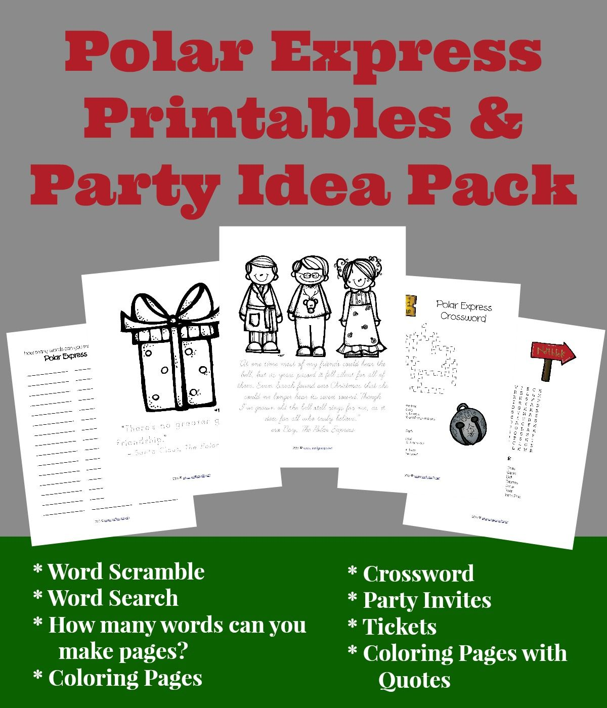 Polar Express Party Pack Printables Ideas
