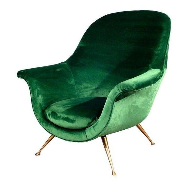 Pinterest ❤ Liked On Polyvore Featuring Emerald Green Accent Chair, Velvet  Furniture, 1950s Chair, 50s Furniture And 50s Chair | Decor U0026 Whatnot ...