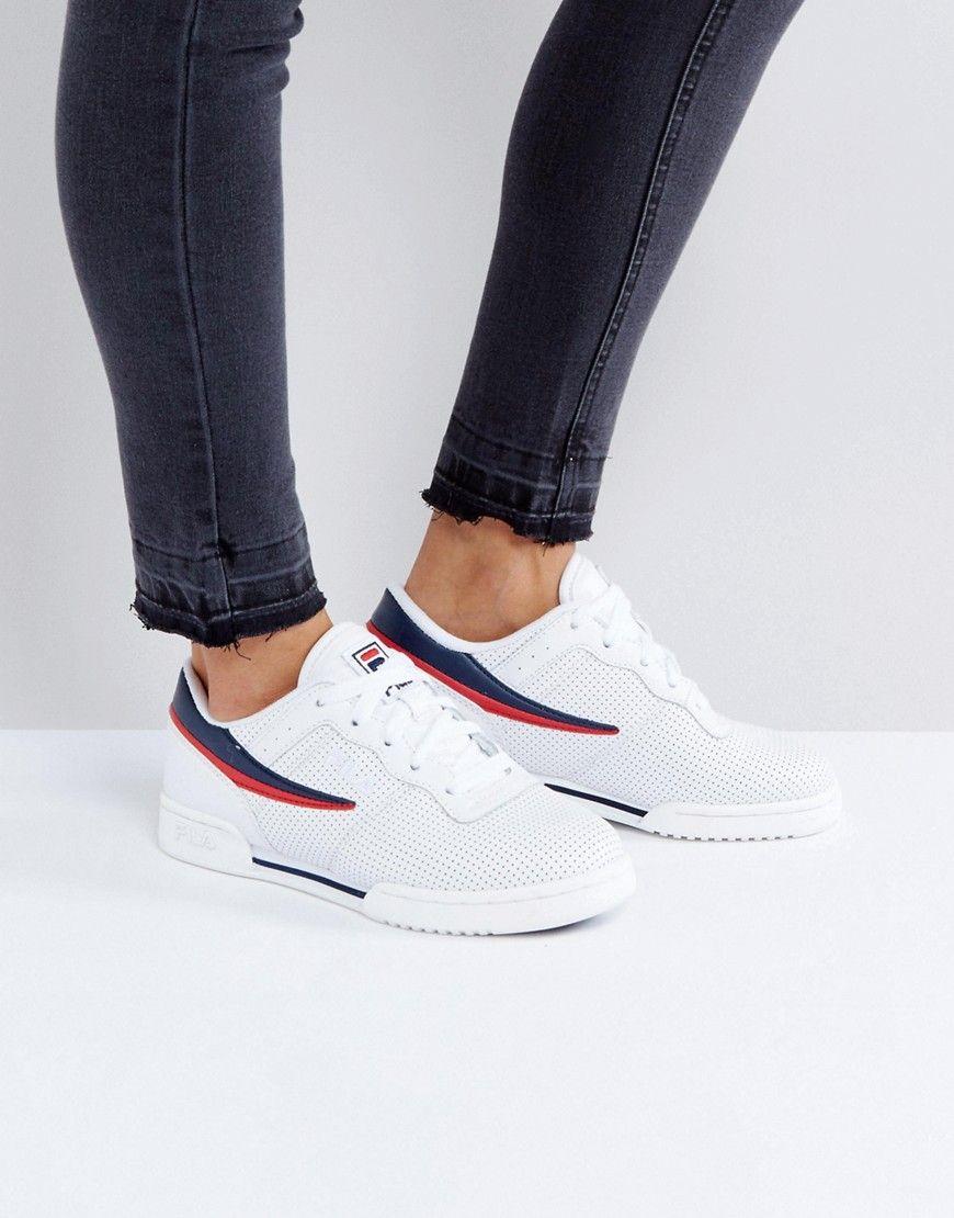save off f9080 db78d Haz clic para ver los detalles. Envíos gratis a toda España. Zapatillas de  deporte blancas con perforaciones Original Fitness de Fila  Zapatillas de  deporte ...