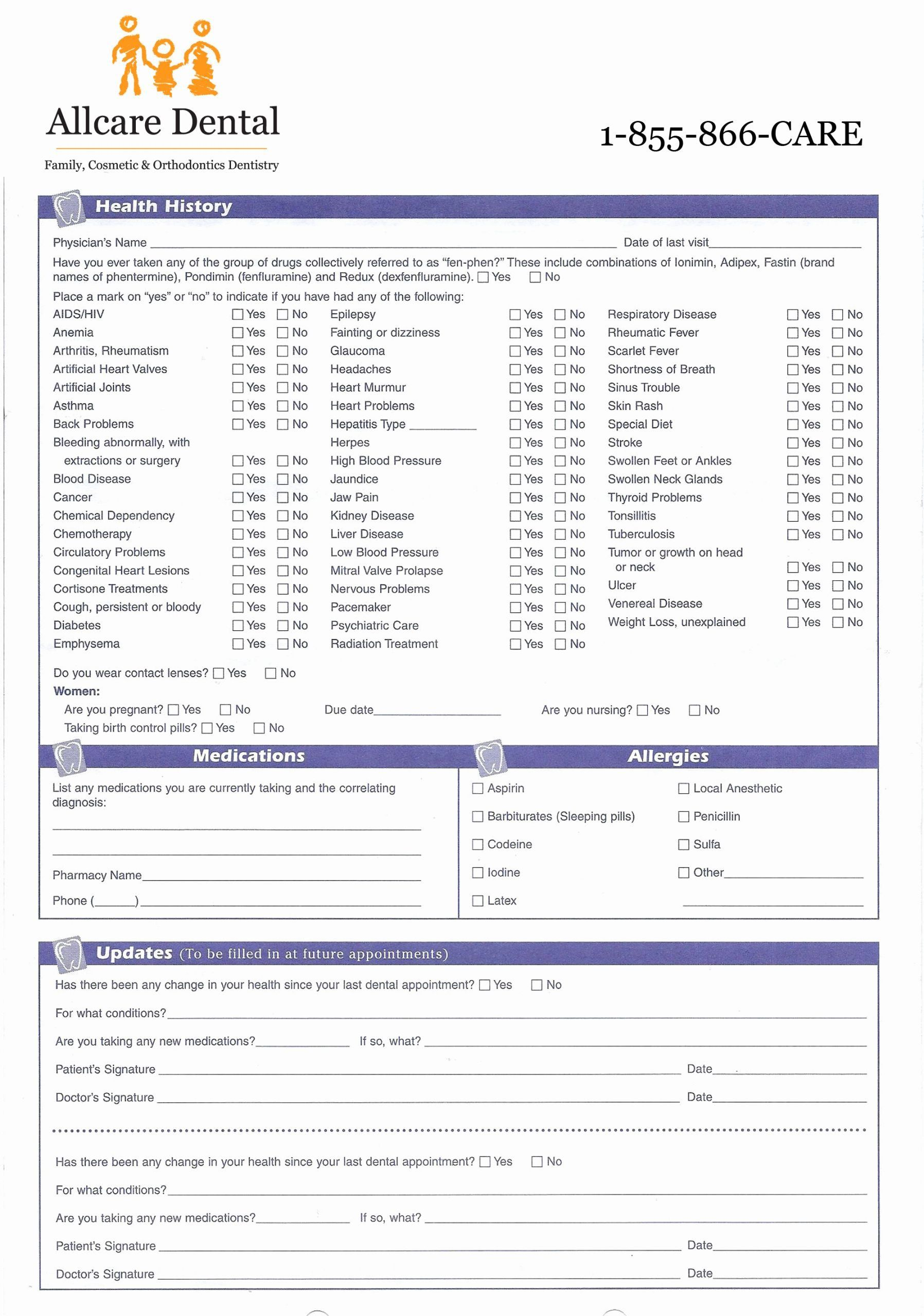 Dental Medical History Form Template Awesome Medical History Form For Dental Fice Medical History Dental Health History Form Dental medical history update form template