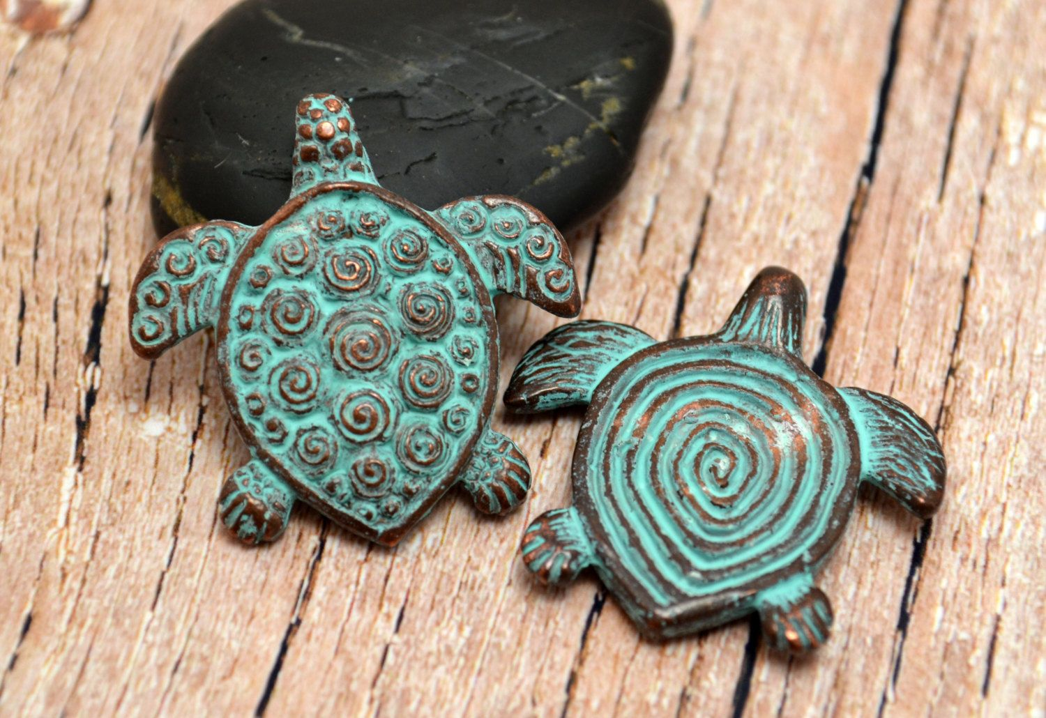 Spiral Turtle Pendant Mykonos Beads 30mm Green Patina Double Sided Pendant
