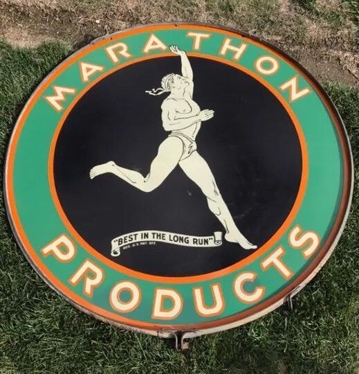 "Original MARATHON Gas And Oil Porcelain Sign 48"" DSP BEST"