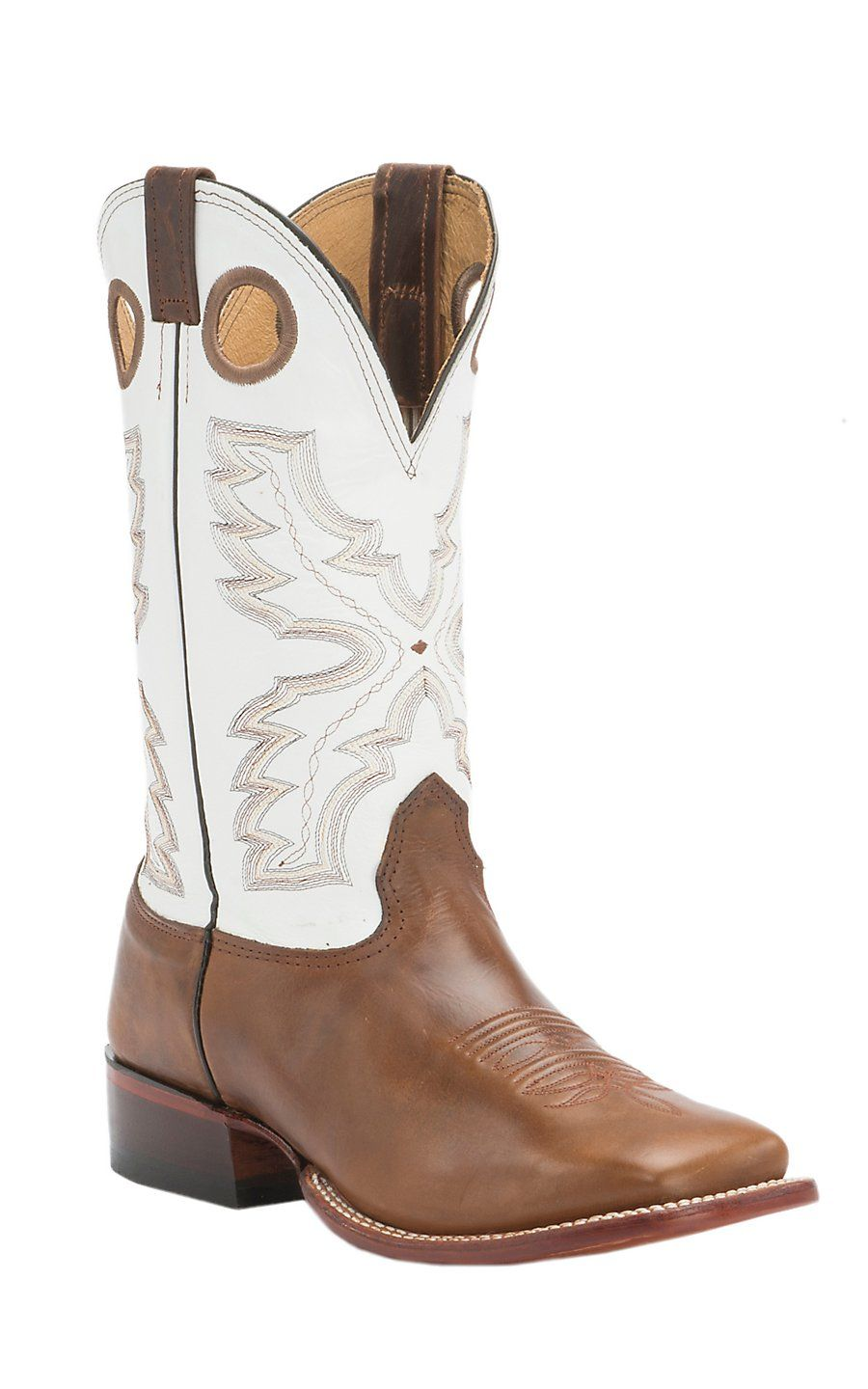 Nocona Men's Vintage Brown Cow with White Double Welt Square Toe ...