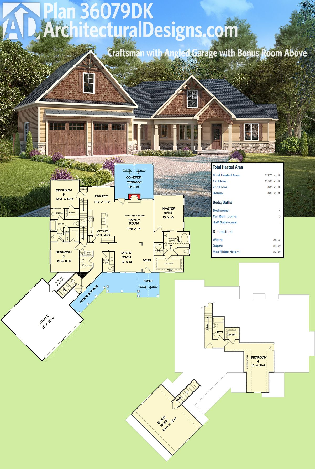 Plan 36079dk craftsman with angled garage with bonus room for House plans with bonus room over garage