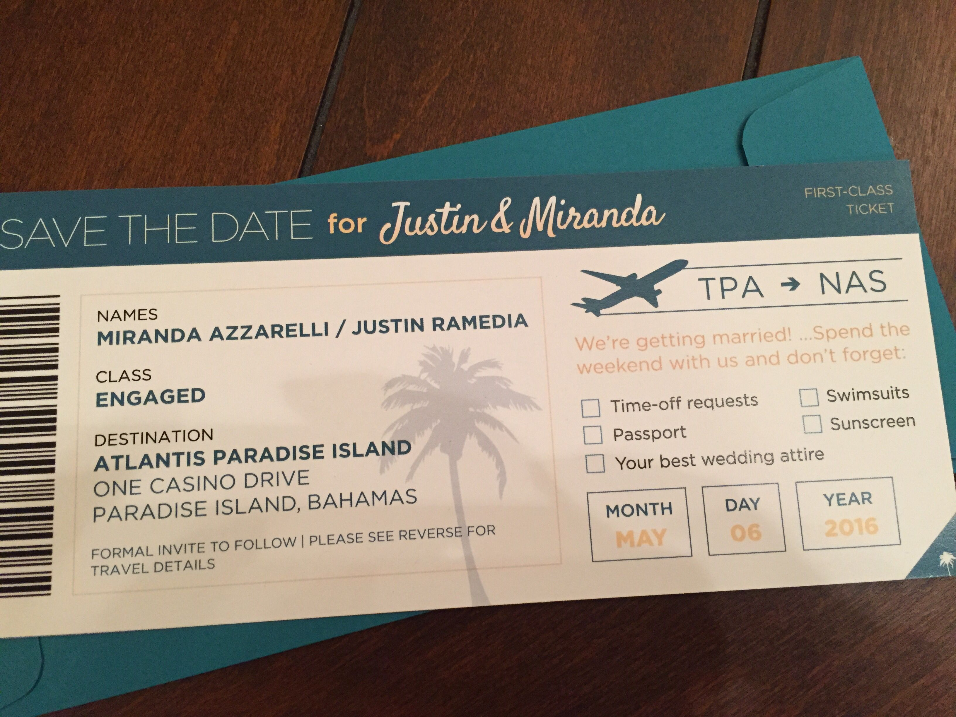 Destination wedding save the date idea! Boarding pass