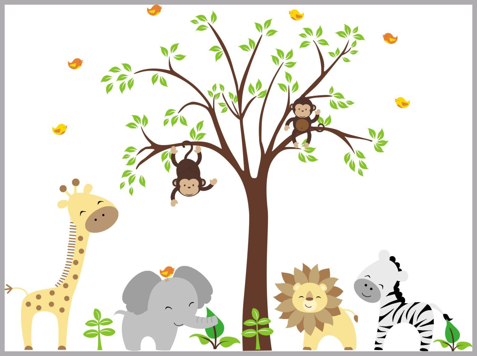 Nursery Wall Decals Removable Animal Decals Reusable Jungle Animal Decals Baby Room Wall Decals Zoo Animal Stickers 84 X 109 Nursery Wall Decals Baby Wall Decals Jungle Wall Stickers