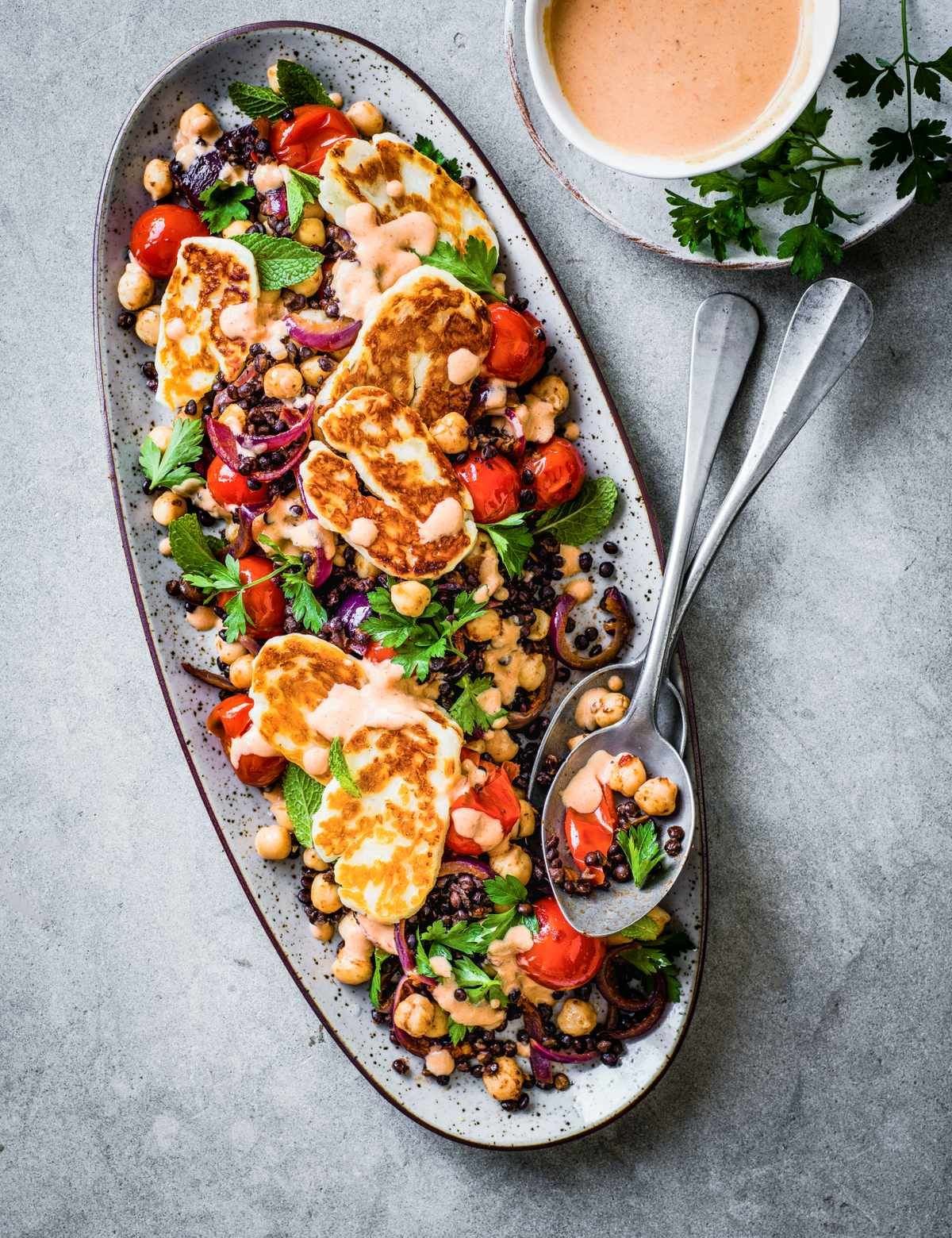 Image result for Spiced lentil and chickpea salad with halloumi