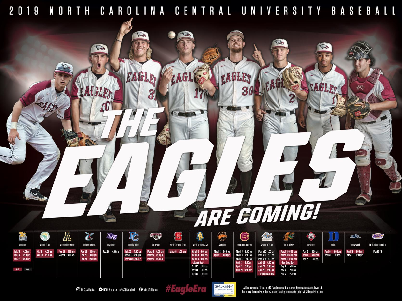 North Carolina Central Baseball Schedule Poster Baseball Posters Softball Team Photos Team Photos