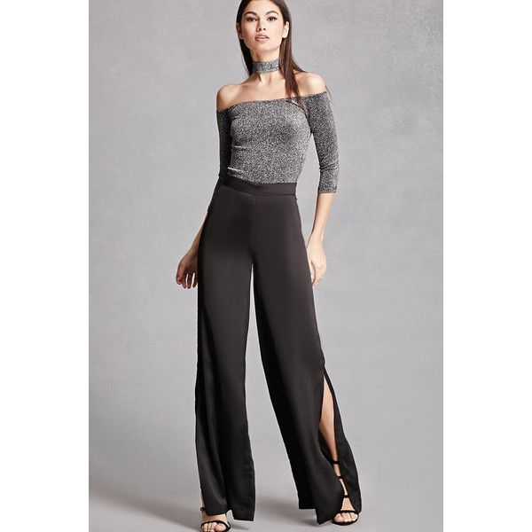 A pair of satin pants featuring a wide leg, mid-rise, on-seam pockets, side  slits, and an invisible side zipper. This is an independent brand and not a  ...