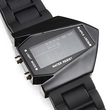 Reloj de Muñeca LED V Unisex con Correa de Silicona (Negro) - USD $ 6.99