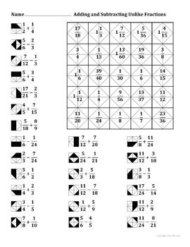 Adding And Subtracting Unlike Fractions Color Worksheet En 2020
