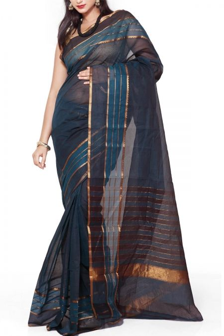 Teel Blue & Maroon Dhoop Chaon Cotton Mangalgiri Saree