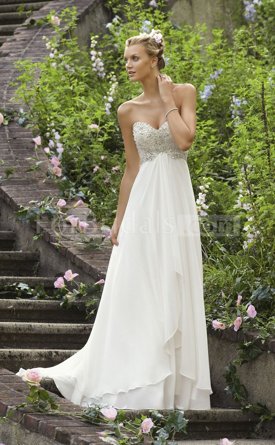 White and blue wedding dresses  Aline Chiffon Beach Empire Waist Wedding Dresses  One Day uc