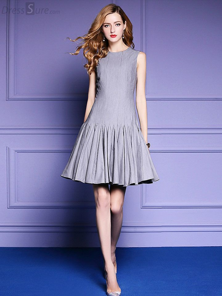 Buy Brief O-Neck Sleeveless Pure Color Pleated A-Line Dress with ...